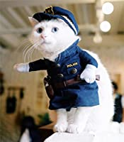 PetsLove Pet Policeman Costume Dog Jeans Clothes Cat Funny Apperal