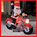 gemmy blow up christmas:6 foot CHRISTMAS santa claus ON motorbike GEMMY INFLATABLE