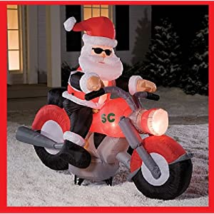 6 Ft CHRISTMAS SANTA ON MOTORCYCLE GEMMY INFLATABLE