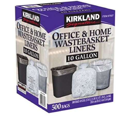 Kirkland Signature 10 Gallon Clear Wastebasket Liners Bags 500 count (Commercial Waste Basket Liners compare prices)