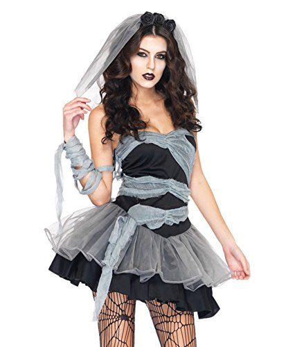 Prettycostume Women's Halloween Zombie Bride Tattered Fancy Costume