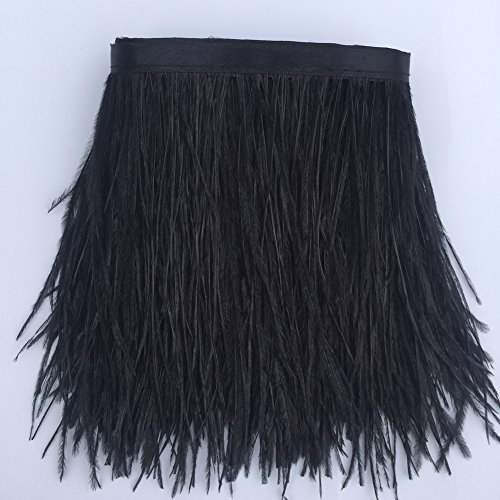 Sowder Black Ostrich Feathers Trims Fringe With Satin Ribbon Tape for Dress Sewing Crafts Costumes Decoration Pack of 2 yards