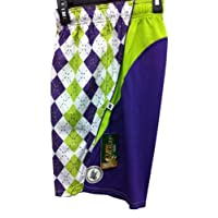 Flow Society Lacrosse Shorts Performance Argyle Purple Lime Green Youth Large
