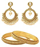 Jewels Galaxy Bridal Collection Royal Bangles Set, Pair Of Traditional Earrings - Combo of 2