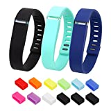 Henoda 3PCS Replacement Wristband with Clasps for Fitbit Flex Wireless Activity Sleep Band, (Set of 3 Band with 12 Piece Colorful Silicon Fastener Ring)