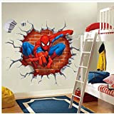 Littlefun Children's Bedroom Wall Stickers Removable Waterproof Kids Mural Decor (3D Through-Wall Spider-Man)