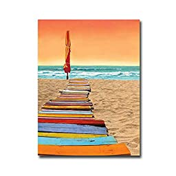 Orange Beachwalk by Robin Renee Hix Premium Gallery-Wrapped Canvas Giclee Art (Ready to Hang)