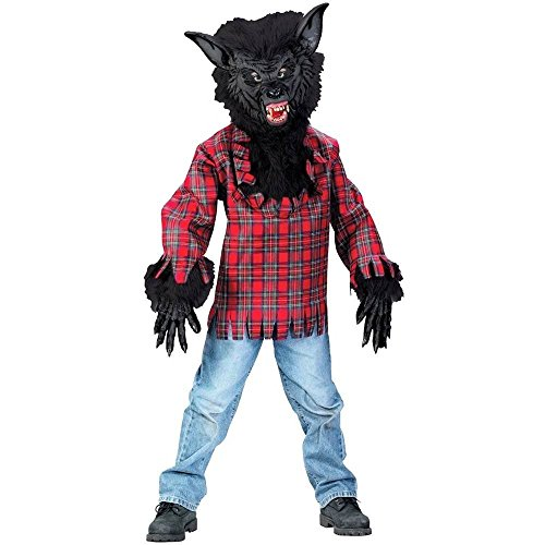 Childs Werewolf Costume - Super Deluxe BLK with Bracelet for Mom