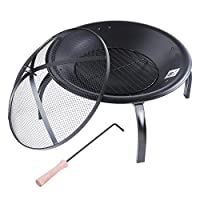 "Yescom 22"" Round Backyard Patio Fire Pit Outdoor Grill Heater Brazier w/ Mesh Cover Bowl Poker Folding Leg by Yescom"