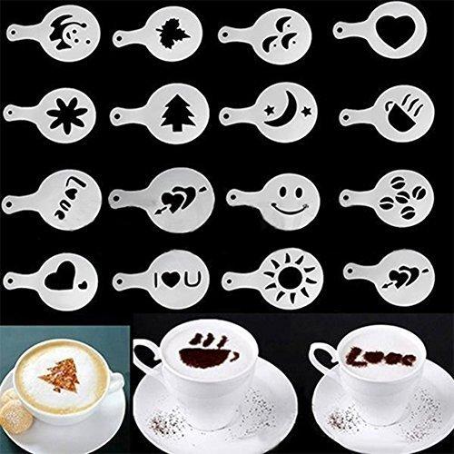Stencil per decorare cappuccino, motivi assortiti, 16 pezzi, colore bianco
