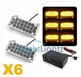 12v 132 LED AMBER STROBE LIGHT X6 ** RECOVERY VEHICLES, CARS, TRUCKS, BREAKDOWN, FLASHING LIGHTS **