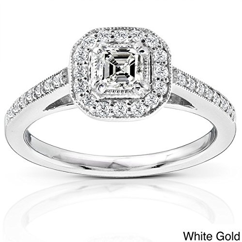 0.58 Carat Halo Cheap Diamond Engagement Ring with Princess cut Diamond on 14K White gold