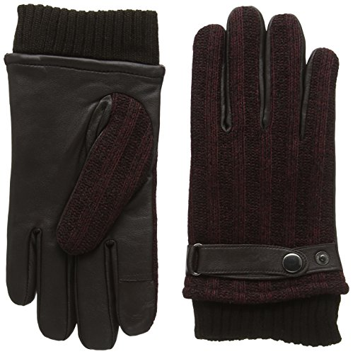 isotoner-smartouch-mens-rib-marl-back-leather-glove-guanti-uomo-marrone-l-xl