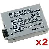 2 Canon Battery Pack For LP-E8 EOS Digital Rebel T2i