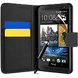 Schwarz Supergets Hülle für HTC One Klapptasche in Lederoptik Magnetverschluß Etui Flip Case, Schutzfolie, Reinigungstuch, Mini Eingabestift