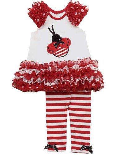 Rare Editions Girls Ladybug Tunic & Stripe Leggings Set 3T (E774814)