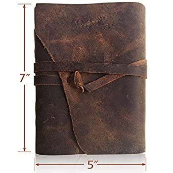 Leather Journal Writing Notebook, Antique Handmade Leather Bound Daily Notepad For Men & Women, Unlined Paper 7 x 5 Inches, Perfect Gift for Art Sketchbook, Travel Diary & Notebooks to Write in