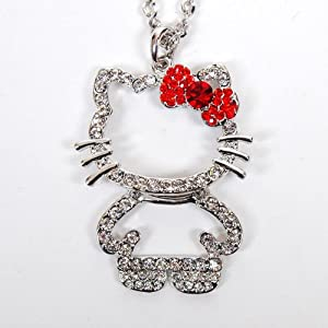 Hello Kitty Figure Rhinestones Necklace Chain
