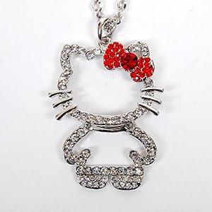Hello Kitty Figure Rhinestones Necklace Chain