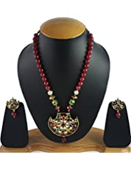 Aradhya Gold Plated Designer Nauratan And Meena Work Kundan Necklace Set With Earrings For Women And Girls