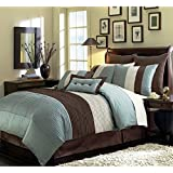 Chezmoi Collection 90 x 92-Inch 8-Piece Luxury Stripe Comforter Bed-in-a-Bag Set, Queen, Blue/Brown/Off-White