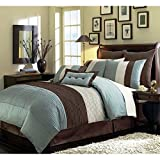 Chezmoi Collection 6-Piece Luxury Stripe Comforter Bed-in-a-Bag Set, Twin, Blue/Beige/Brown