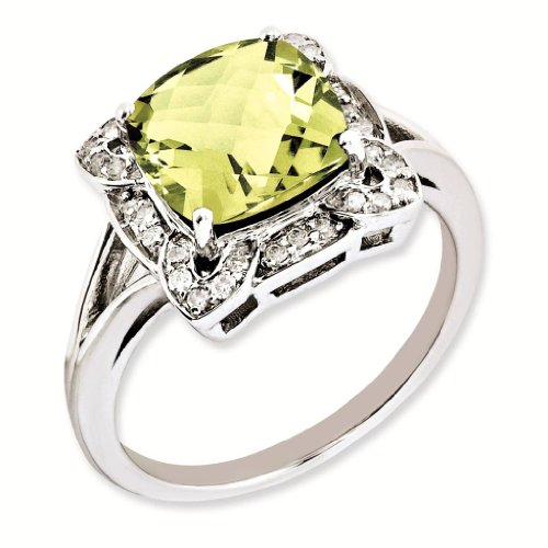 Sterling Silver Genuine Diamond & Lemon Quartz Ring