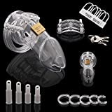 Clear Male Chastity Device Belt With Brass Lock & Locking Number Tags