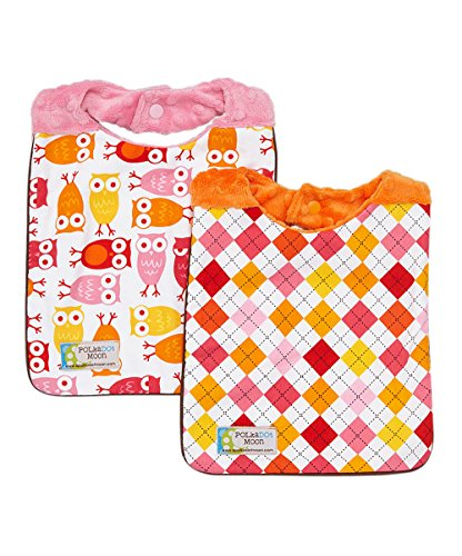 Baby Girl Bib Set of 2 - Owls & Argyle on Minky - 1