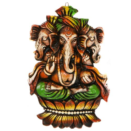 Three Face Terra-cotta Ganesh Wall Hanging