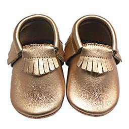 Sayoyo Baby Tassels Soft Sole Leather Infant Toddler Prewalker Shoes (12-18, Gold)