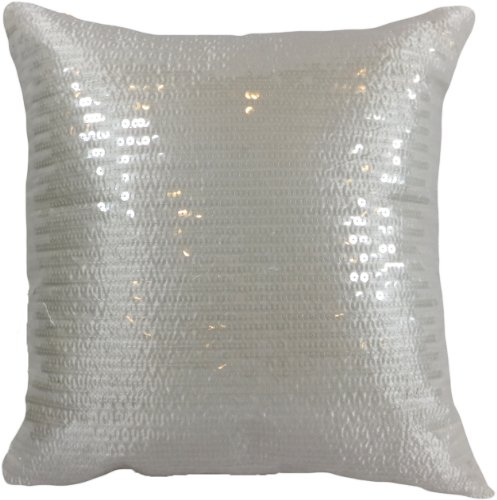"Decorative Transparent Sequins Floral Throw Pillow COVER 18"" White"