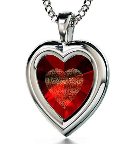 925 Sterling Silver Heart Pendant - I Love You Necklace in 120 Languages Inscribed in 24k Gold on Red Cubic Zirconia, 18