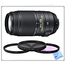 Nikon 55-300mm f/4.5-5.6G ED VR AF-S DX Nikkor Zoom Lens for Nikon Digital SLR with 3 Piece Filter Kit & CS Microfiber Cleaning Cloth