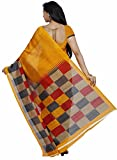 Samskruti Sarees Womens Checkerd Print Art Silk Saree (SYUV-YELLOW)
