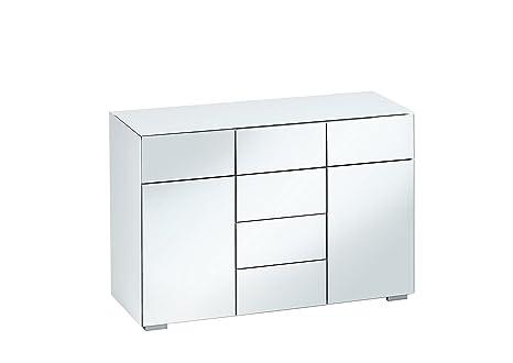 Schubladen Kommode Anrichte Sideboard MAJA 7714 in weißglas matt / grauspiegel (B/H/T) 119,6 x 79,4 x 46,2 cm Made in Germany