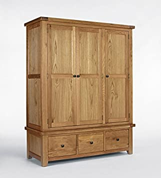 Ametis Devon Oak Triple Wardrobe with Drawers BLAMI0172