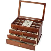 Kendal Real wood/Wooden Jewelry Box Case with Mirror SI-1821B