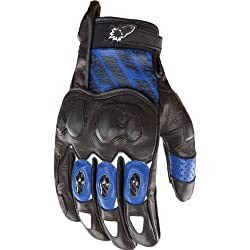 Joe Rocket Supermoto 2.0 Men's Leather Sports Bike Motorcycle Gloves - Blue/Black