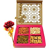 Dry Fruits And Baklava Gift Box With 24k Red Gold Rose - Chocholik Premium Gifts