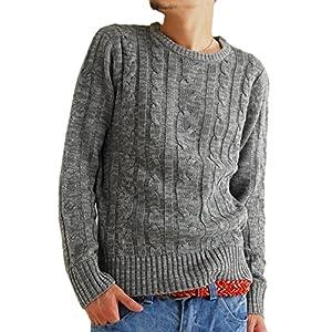 (アーケード) ARCADE メンズ クルーネック ケーブル編み ニットセーター