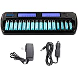Knox 16 Bay Smart Fast Charging Ni-MH AA/AAA Battery Charger + 12 AA (2100 mAh) & 4 AAA (1000 mAh) Rechargeable Batteries Included