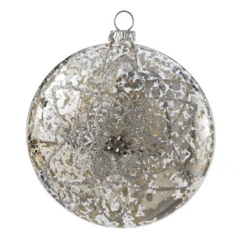 Medium Silver Ball Ornaments Set/6