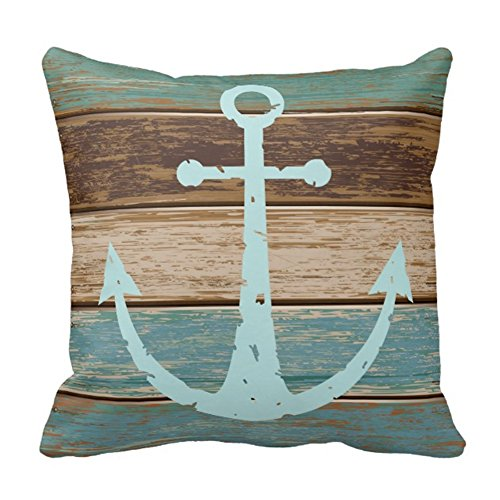 """Cukudy® Throw Pillow Cases Cotton Polyester Cushion Cover Nautical Anchor Weathered Wood, 16"""" x 16"""""""