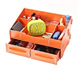 Umiwe(TM) Multi Compartments Dual Layers Drawers DIY Wood Desk Makeup Box Organizer, Orange With Umiwe Accessory