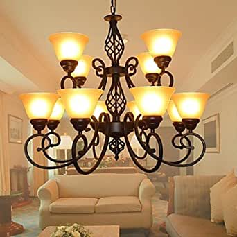 FJL Living Room Dining Room Chandelier 12 Lights Brown