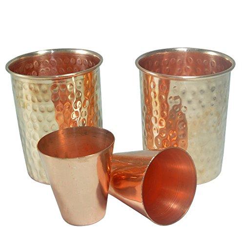 DakshCraft ® cuivre martelé Gobelets en pointillé (capacité 8,52 onces par tumbler) avec Tir de vin Wine Glasses (capacité 2,46 oz par des verres à shooter), Ensemble de 2 (2 gobelets et 2 Verres à liqueur)