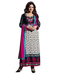 Mantra Fashion Black & White Cotton Fabric Semi-stitched Straight Salwar Kameez