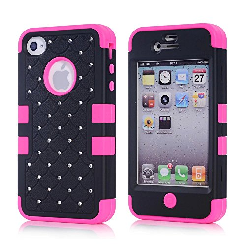 iPhone 4S Case, KAMII 3 Layers Verge Hybrid Soft Silicone Hard Plastic Triple Quakeproof Drop Resistance Protective Case Cover for Apple iPhone 4/4S (Black Rose) (Iphone 4s Back Glass Marvel compare prices)