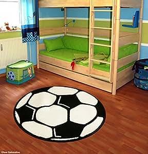 Fußball Teppich Rund Kinderteppich , Durchmesser Rund in cm:100